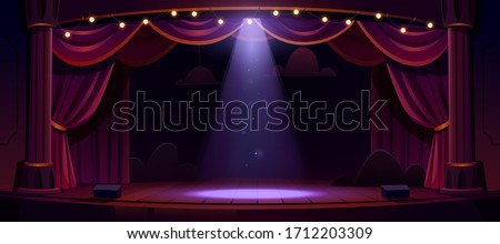 Dark theater stage with red curtains, columns and spotlight in center. Theatre interior empty wooden scene, luxury velvet drapes, decoration and light beam fall on floor, cartoon vector illustration