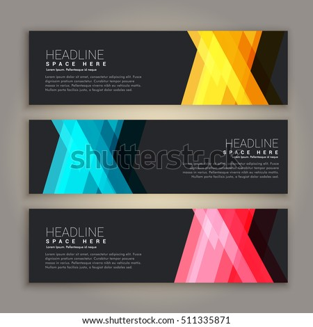 dark theme abstract banners set #511335871