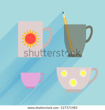 Dark transparent mug isolated, porcelain demitasse and teacup with flower pattern on blue background