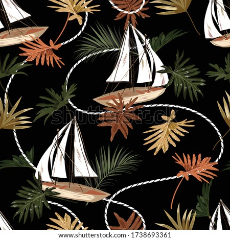 Dark tropical leaves ,boat,and sailor rope seamless pattern in vector EPS10 hand drawn style,Design for fashion,fabric,web,wrapping,wallapaper,textile and all prints on black