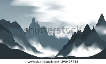 dark valley with fog