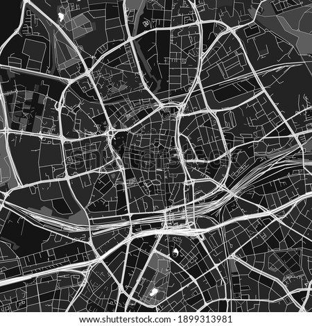 Dark vector art map of Essen, North Rhine-Westphalia, Germany with fine grays for urban and rural areas. The different shades of gray in the Essen  map do not follow any particular pattern. Stock foto ©