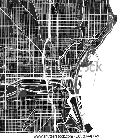 Dark vector art map of Milwaukee, Wisconsin, UnitedStates with fine gray gradations for urban and rural areas. The different shades of gray in the Milwaukee  map do not follow any particular pattern.