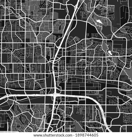 Dark vector art map of Plano, Texas, UnitedStates with fine gray gradations for urban and rural areas. The different shades of gray in the Plano  map do not follow any particular pattern. Foto stock ©
