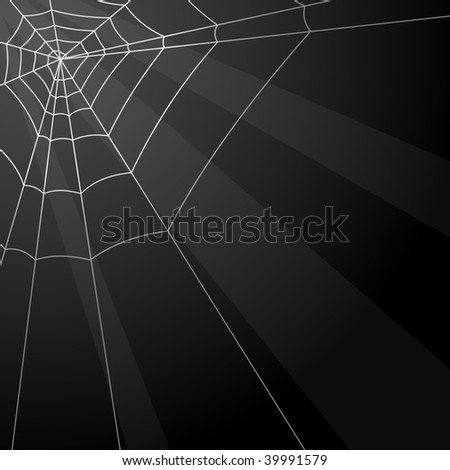 Dark vector background with spider web in the corner.