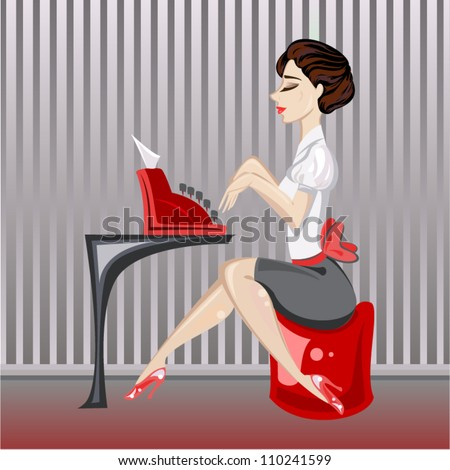 Dark vintage Brunette typewriter - stock vector