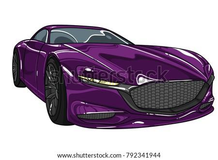 dark violet sport car mazda