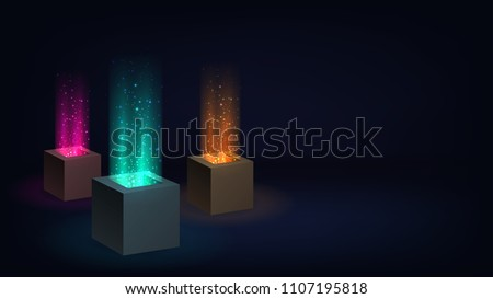 Dark wallpaper with cubes with a beam of light from a hole
