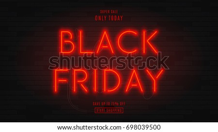Dark web banner for black Friday sale. Modern neon red billboard on brick wall. Concept of advertising for seasonal offer with glowing neon text.