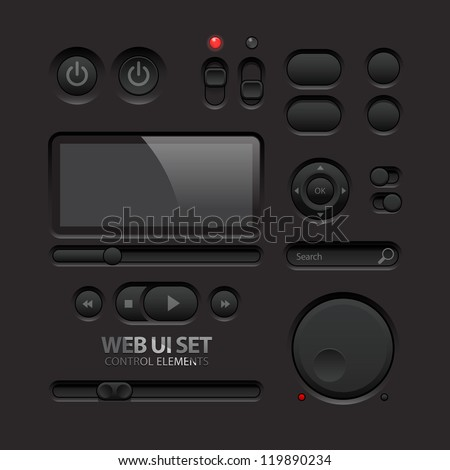 Dark Web UI Elements. Buttons, Switches, bars, power buttons, sliders. Part two. Vector illustration