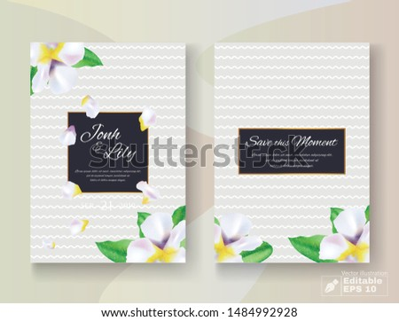 Dark Wedding Invitation Cards Set with Flowers Buds and Petals Decoration. Black Backdrop with Wavy Stripes. Save this Moment, Date, Bridal Couple Names and Inviting Text. Vector EPS Illustration