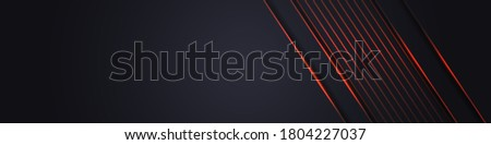 Dark wide abstract banner. Abstract dark grey background with orange light line on blank space. Dark futuristic luxury modern technology background.