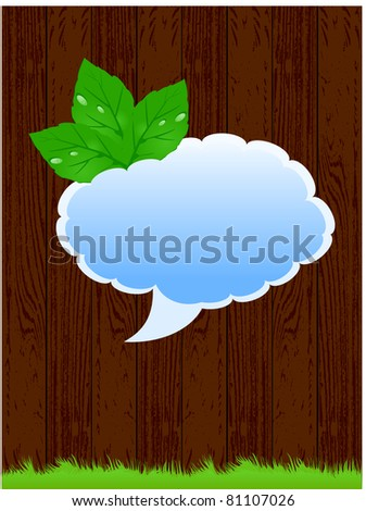 Dark wood background with green grass, leaves, and blue for inscription cloud