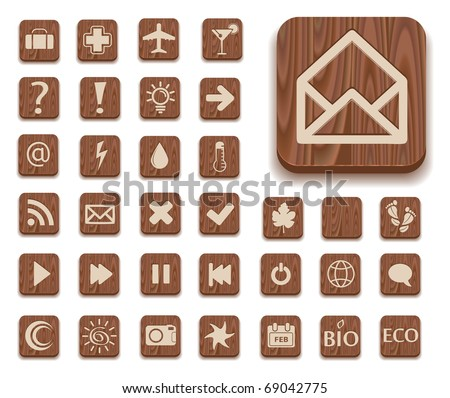 dark wooden icon set with different signs - mail, rss, question, bulb, arrow, eco, approve mark