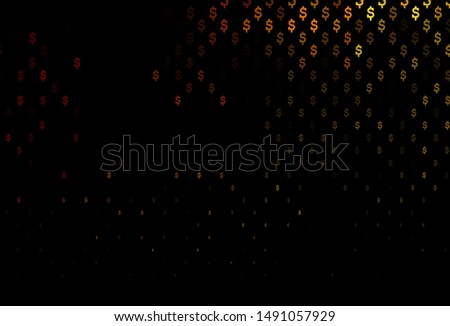 Dark Yellow, Orange vector background with dollar, USD, usa. Shining colored illustration with dollar, USD, usa signs. Smart design for your business advert of economic, wealth.