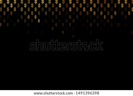 Dark Yellow, Orange vector background with dollar, USD, usa. Shining colored illustration with dollar, USD, usa signs. The pattern can be used for financial, investment websites.