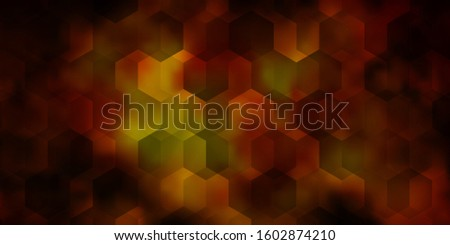 Dark Yellow vector background with set of hexagons. Colorful hexagons on blur backdrop. Pattern for landing pages.