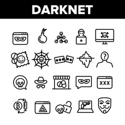 Darknet Collection Web Elements Icons Set Vector Thin Line. Password And Key Protection Dark Deep Internet And Security Darknet Concept Linear Pictograms. Monochrome Contour Illustrations