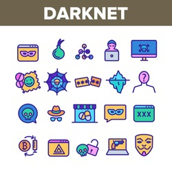 Darknet Collection Web Elements Icons Set Vector Thin Line. Password And Key Protection Dark Deep Internet And Security Darknet Concept Linear Pictograms. Color Contour Illustrations