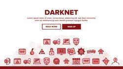 Darknet Landing Web Page Header Banner Template Vector. Password And Key Protection Dark Deep Internet And Security Darknet Illustration