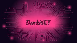 DarkNET text on dark red background with circuit board tracks. The dark side of the internet with hackers and illegal activities. Vector illustration.