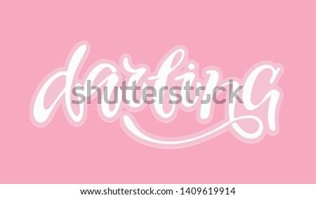 Darling  - cute lettering template design banner #1409619914