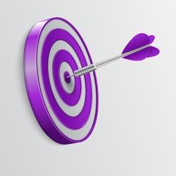Dart hitting a target. Success concept. Vector Illustration.