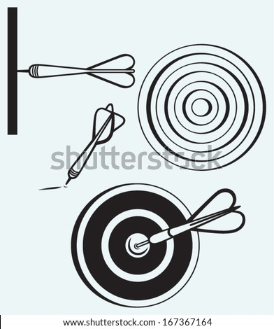 Dart on target isolated on blue background