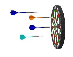 Dartboard and Harrows Darts Isolated on white background. 3d Vector illustration. Side view.