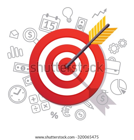 Dartboard arrow and icons. Business achievement and success concept. Straight to the aim symbol. Flat style vector illustration isolated on white background.  #320065475