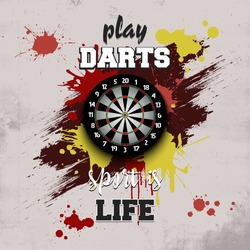 Dartboard icon. Play darts. Pattern for design poster, logo, emblem, label, banner, icon. Darts template on isolated background. Grunge style. Vector illustration