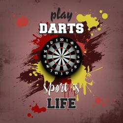 Dartboard icon. Play darts. Sport is life. Pattern for design poster, logo, emblem, label, banner, icon. Darts template on isolated background. Grunge style. Vector illustration