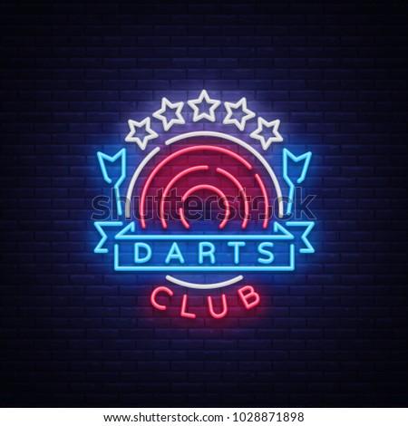 darts club logo in neon style....