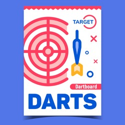 Darts Game Creative Advertising Banner Vector. Darts Equipment Circle Target Aim Dartboard And Throw Dart. Competition And Entertainment Concept Template Stylish Colorful Illustration