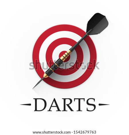 Darts game emblem. Vector illustration showing a detailed black dart with golden parts on a background of a simple red target Stockfoto ©