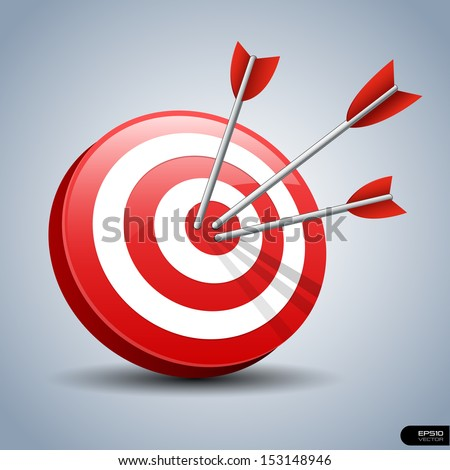 Darts Hitting A Target, Vector illustration