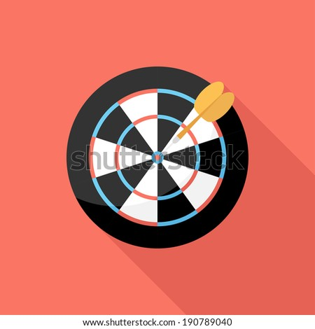 Darts icon. Flat design style modern vector illustration. Isolated on stylish color background. Flat long shadow icon. Elements in flat design.