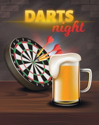Darts Night Vertical Banner, Aim Board with Darts in Center and Big Glass of Beer Stand on Wooden Table Surface on Brick Wall Background. Casino Gambling Games, Pub, 3D Vector Realistic Illustration