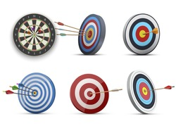 Darts or dart-throwing boards with arrows in and around center realistic set. Competitive sport tools, equipment collection. Round targets, dartboards. Vector illustration isolated on white.