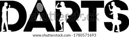 Darts quote. Darts player vector Stockfoto ©
