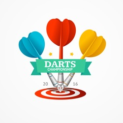 Darts Sign with Ribbon and Inscription Isolated on White Background. Vector illustration