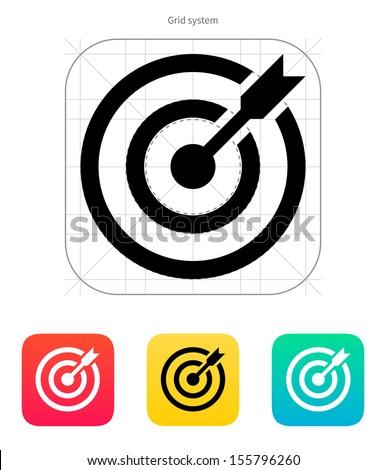 Darts target aim icon. Successful shoot. Vector illustration. ストックフォト ©