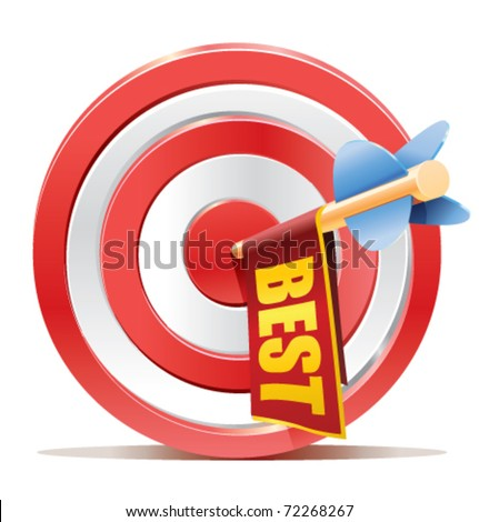 darts target aim with arrow and cute ad banner with the BEST text