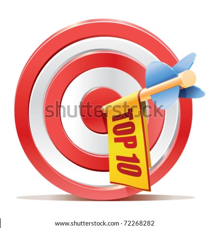 darts target aim with arrow and cute ad banner with the TOP 10 text