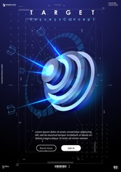 Darts target in futuristic style. Success Business Concept. future technology template. Business target concept vector illustration. Symbolic goals achievement, success, victory.