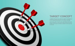 Darts target vector. Shooting target in the center. Success business solutions concept advertising.