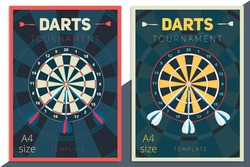 Darts tournament vector poster template design. Flat retro style