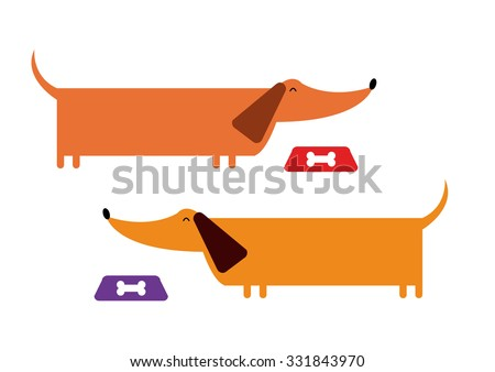 daschund dogs set vector