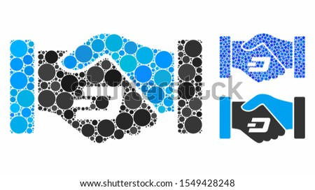 Dash contract hands composition of filled circles in various sizes and shades, based on Dash contract hands icon. Vector filled circles are combined into blue mosaic.