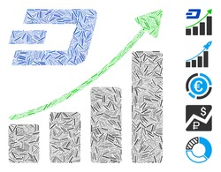 Dash Mosaic based on Dashcoin growing trend icon. Mosaic vector Dashcoin growing trend is created with randomized dash spots. Bonus icons are added.